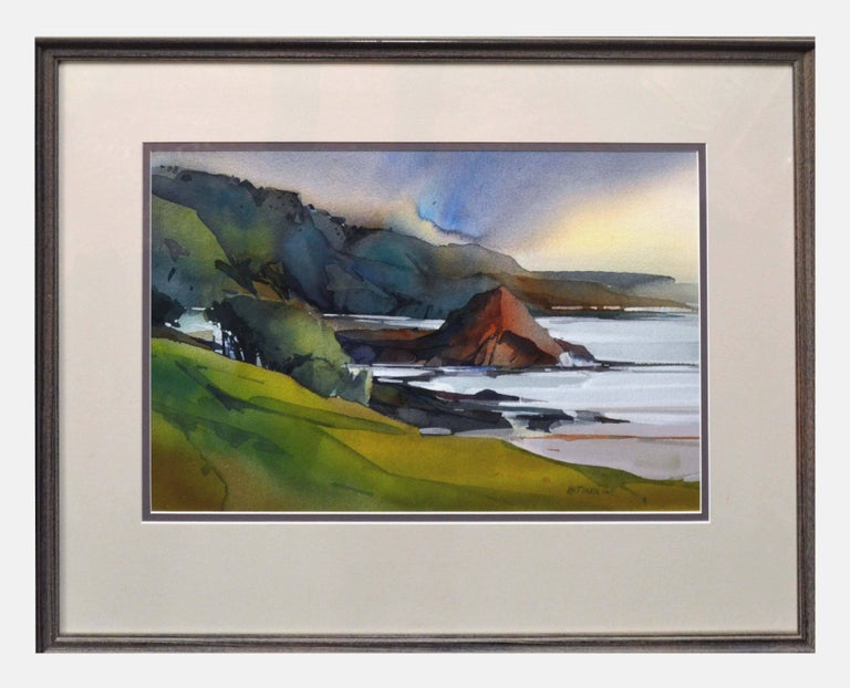 Dale Laitinen Landscape Painting - California Coastal Watercolor