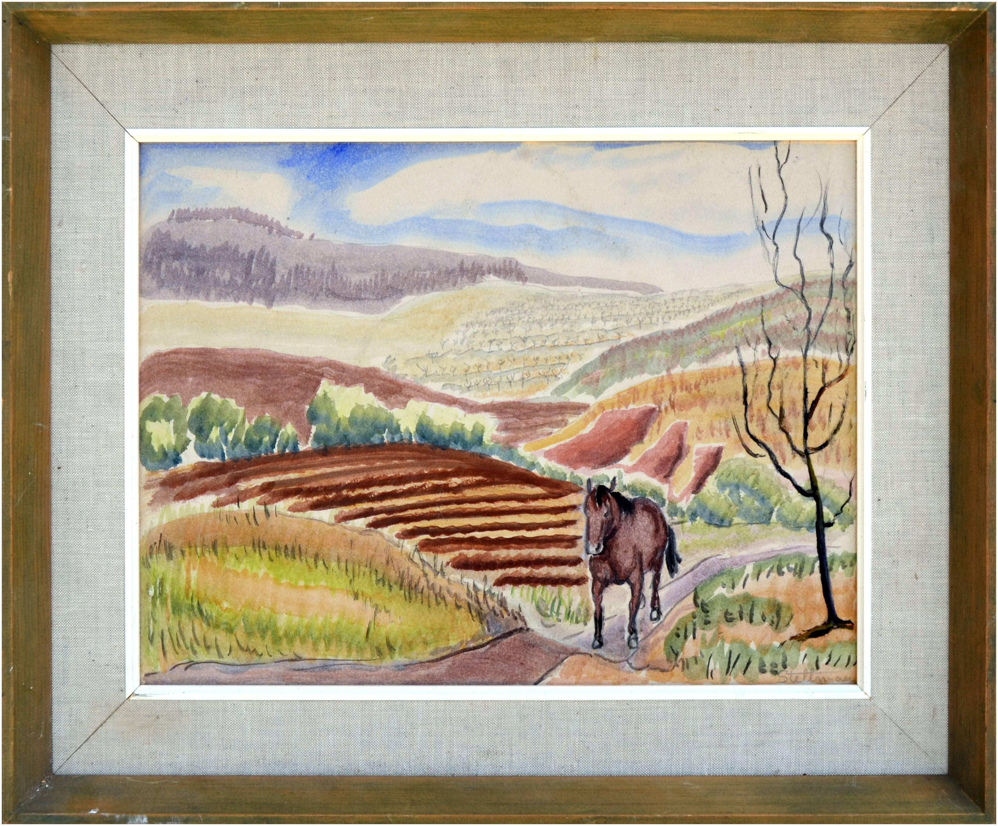 Horse in the Fields Landscape