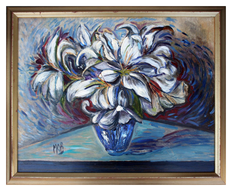 Mid Century White Lilies in Blue Vase Still Life