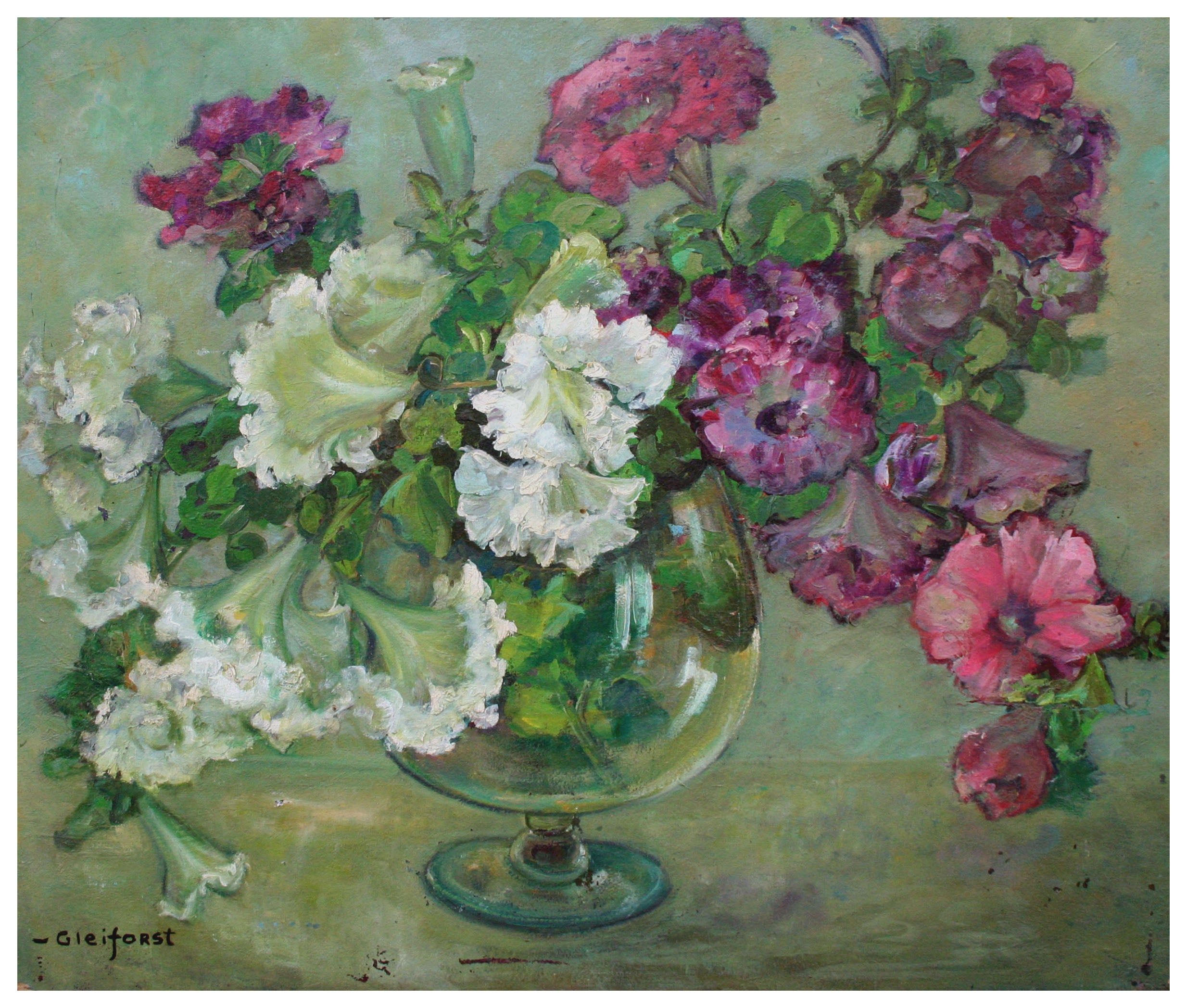 Mid Century Floral Still Life - Petunias in a Glass