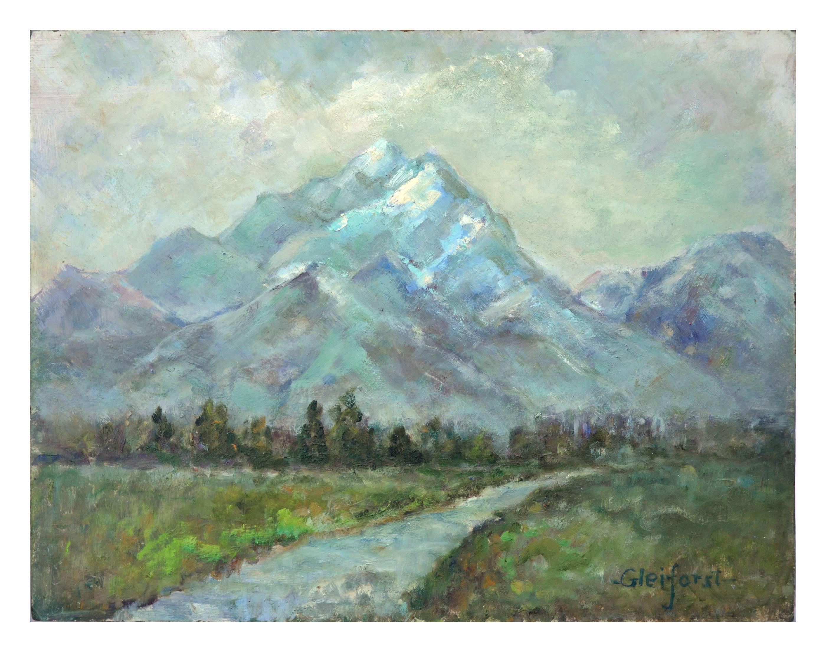Mid Century Far Off Mountains Landscape