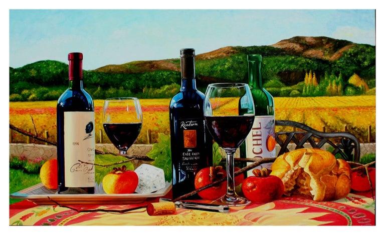 Unknown Landscape Painting - Napa Wine Tasting