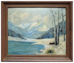 Mid Century Lake Cabin in Snow Landscape