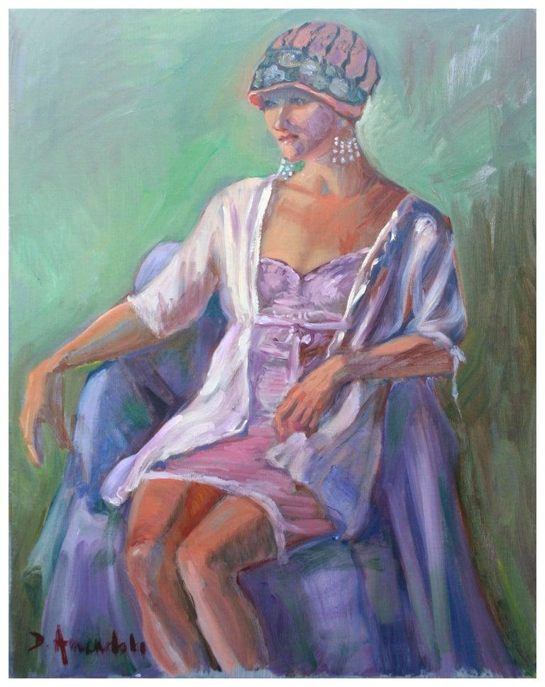 Dominique Amendola  Portrait Painting - Deco Portrait of a Woman - Female Figure Painting