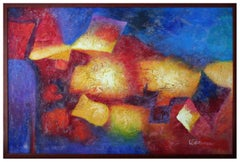 Red and Blue Abstract by J. Greene