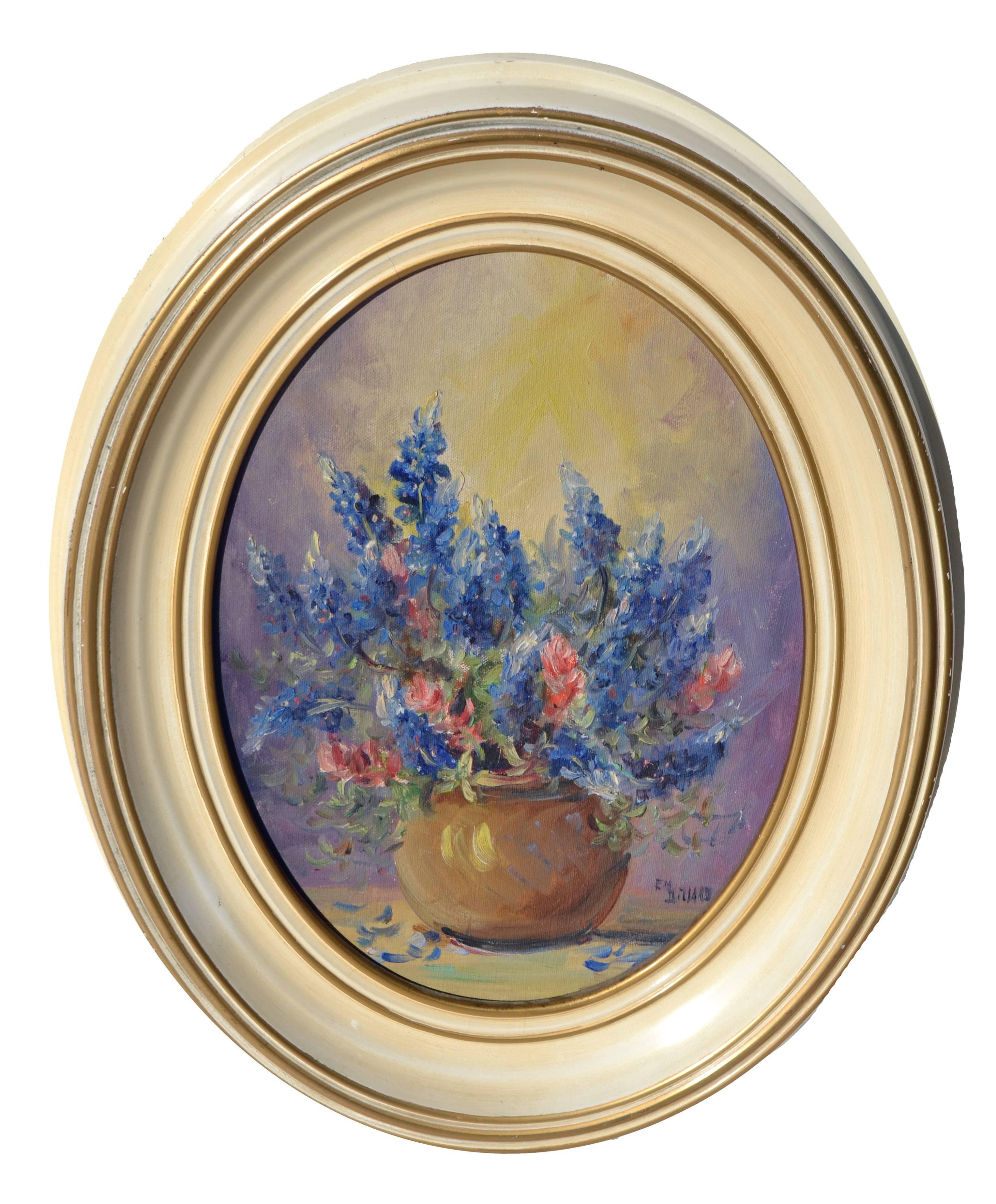 Texas Bluebonnet Bouquet - Mid Century Floral Still Life