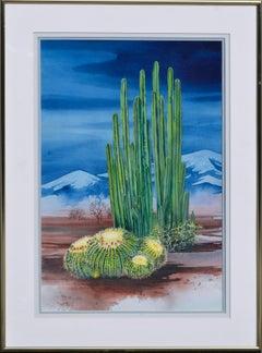 Nocturnal Cactus Flowers Desert Landscape