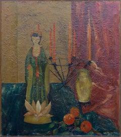 Asian Doll and Lotus Flower Still Life