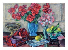Mid Century Roses and Fruit Still Life