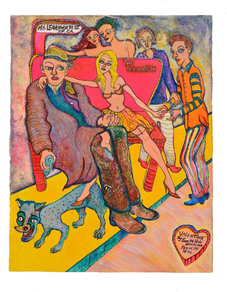 "Jane Winkelman  Figurative Painting - ""Valentine""  The Tenderloin by Jane ""The Vain"" Winkelman"