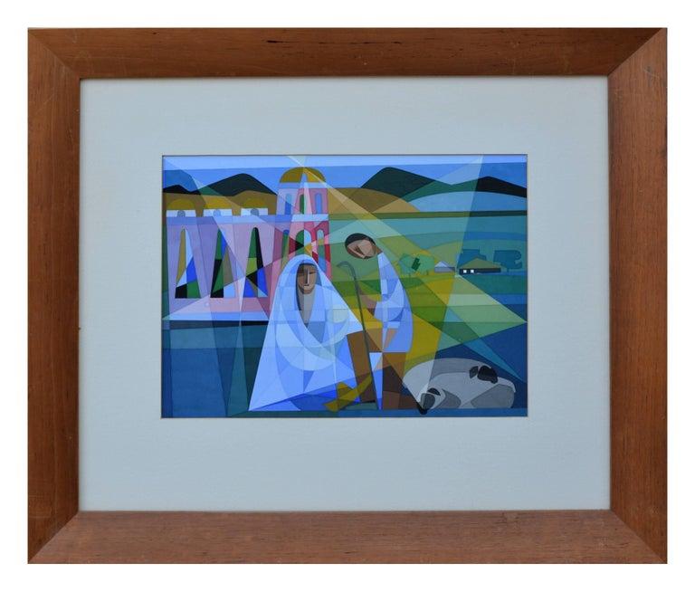 Unknown Landscape Painting - Mid Century Modernist Nativity