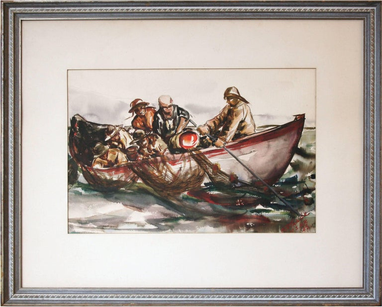 Walter P. Taylor Figurative Art - Netting the Catch by Taylor
