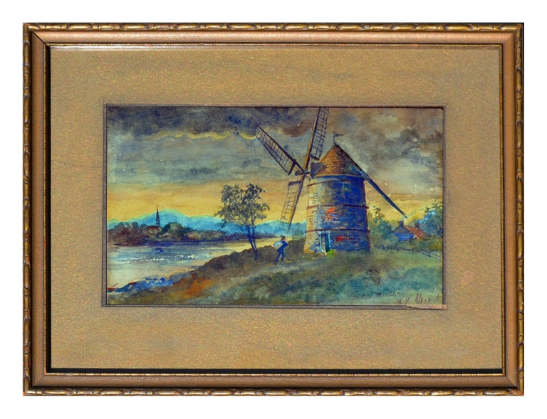 """Inlet and windmill, a watercolor painting by William Walker Alexander (Canadian, 1870-1948). Presented a giltwood frame. Signed """"W.W Alexander"""" lower right. Inner mat has minor wear and trimmed to mat at signature. Mounted and framed under glass."""