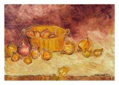 Onions and Copper Pot Still Life
