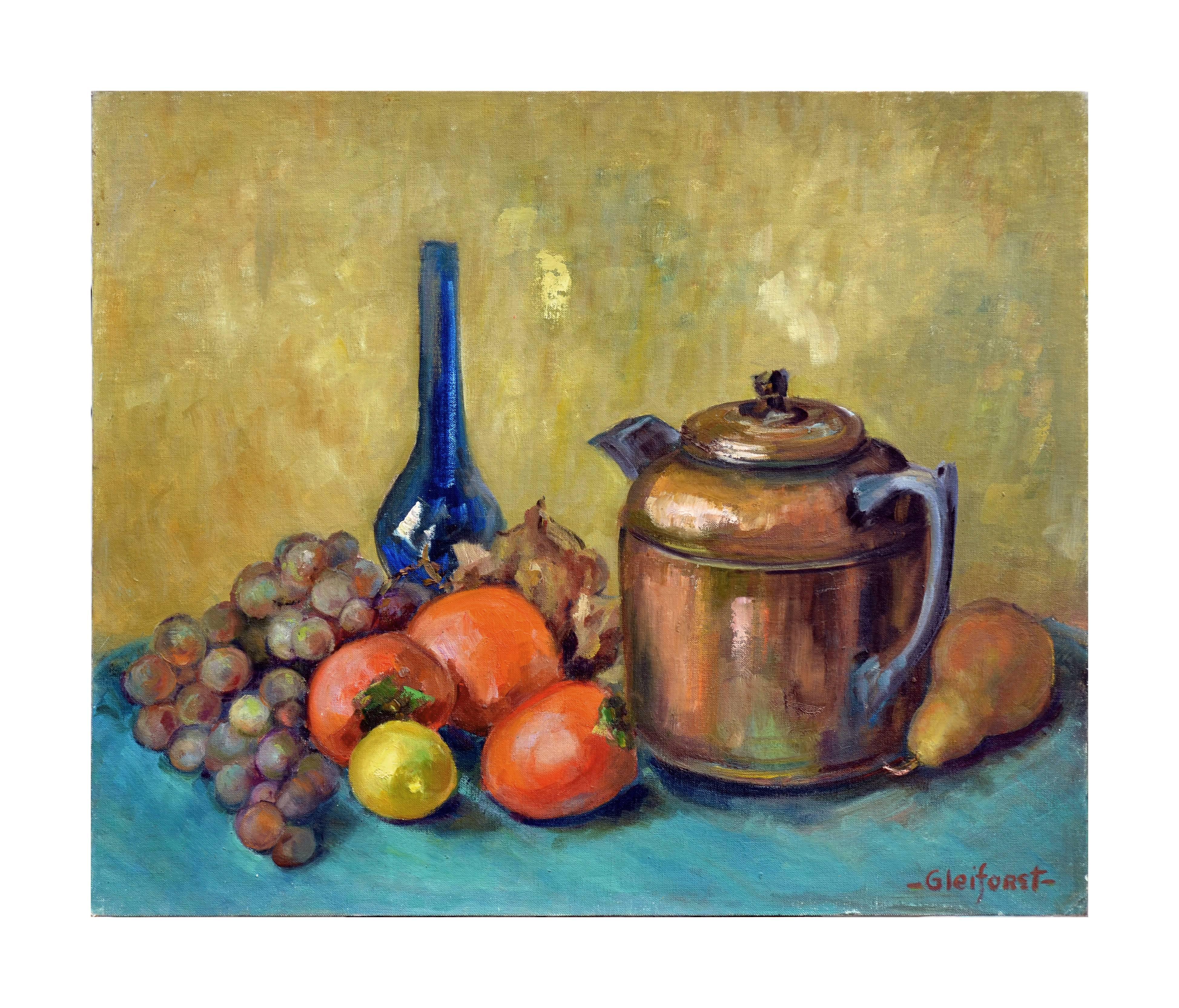 Mid Century Teapot, Vase and Fruit Still Life