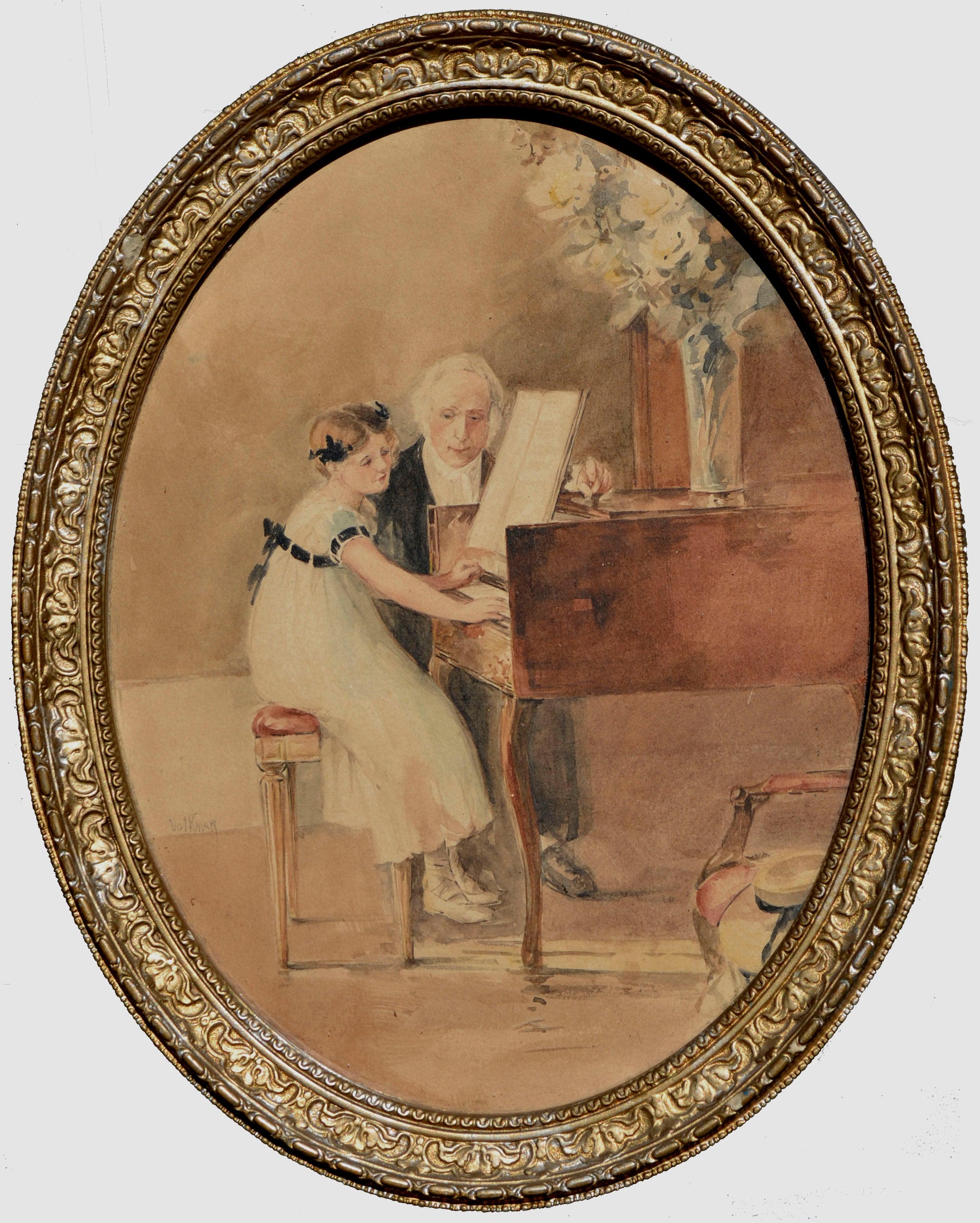 The First Piano Lesson, Figurative Watercolor