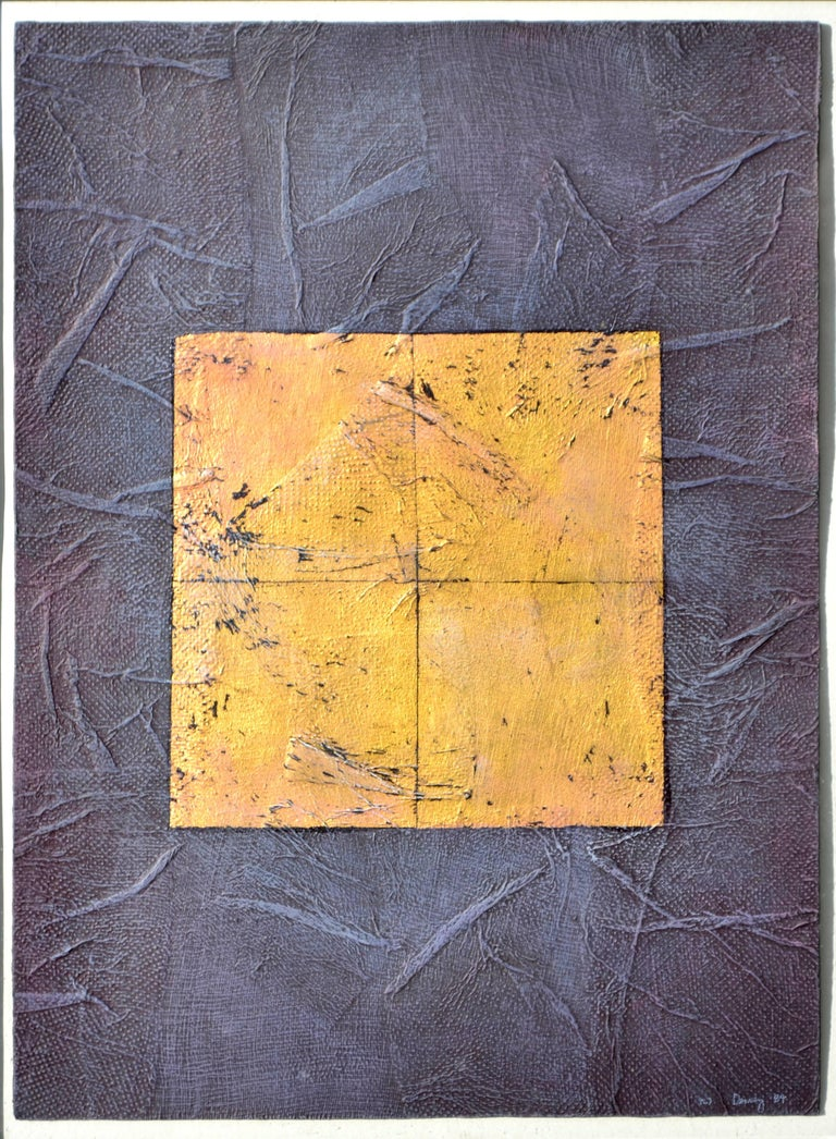Purple and Gold Abstract - Painting by Peg Denney