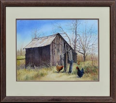 Old Barn with Chickens Landscape