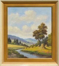 Mid Century Danube Valley Harvest Landscape