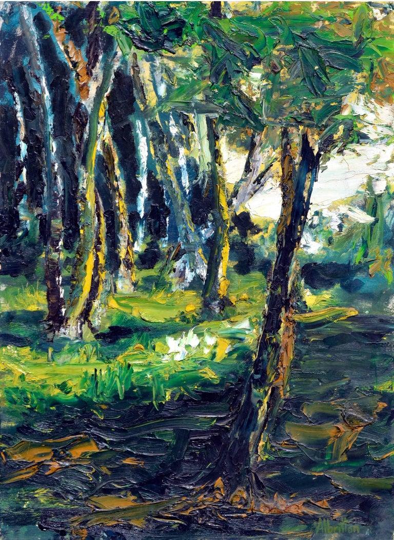 Elmer Albritton Landscape Painting - Mid Century Forest Sun Landscape