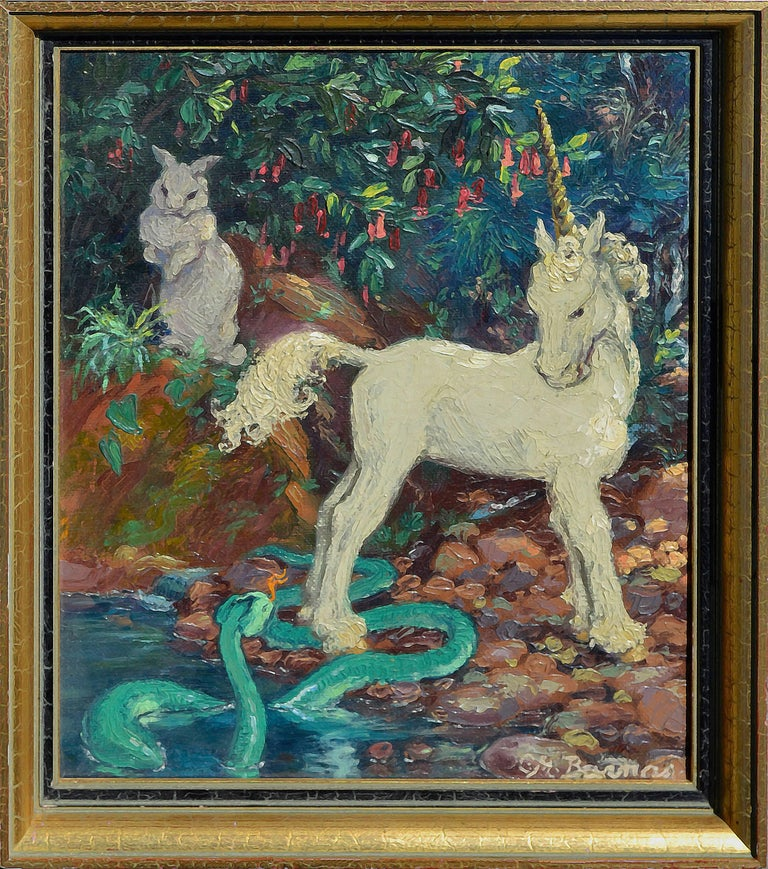 Mary Pomeroy Animal Painting - Unicorn, Serpent and Rabbit