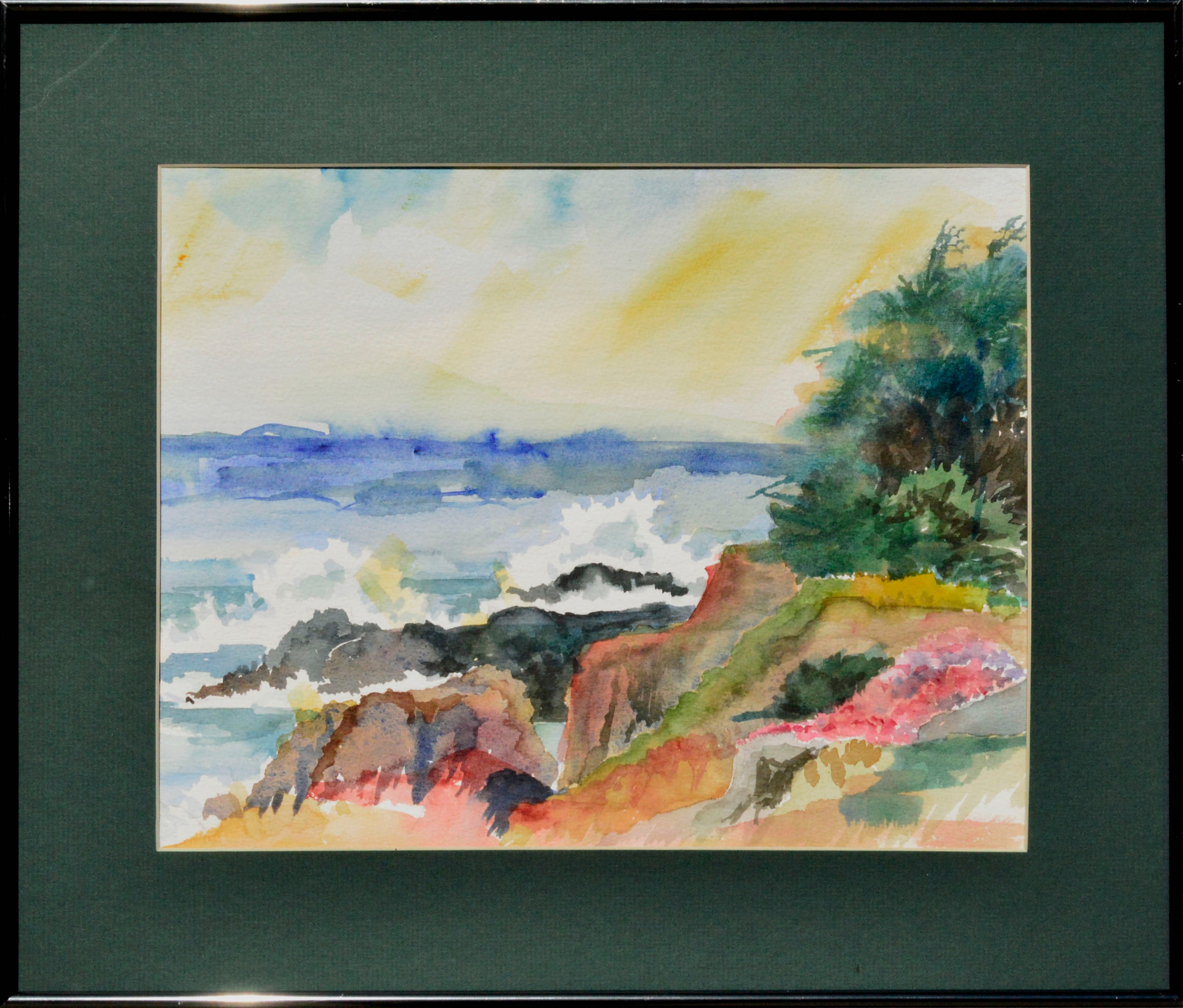 Pacific Coast Watercolor Landscape