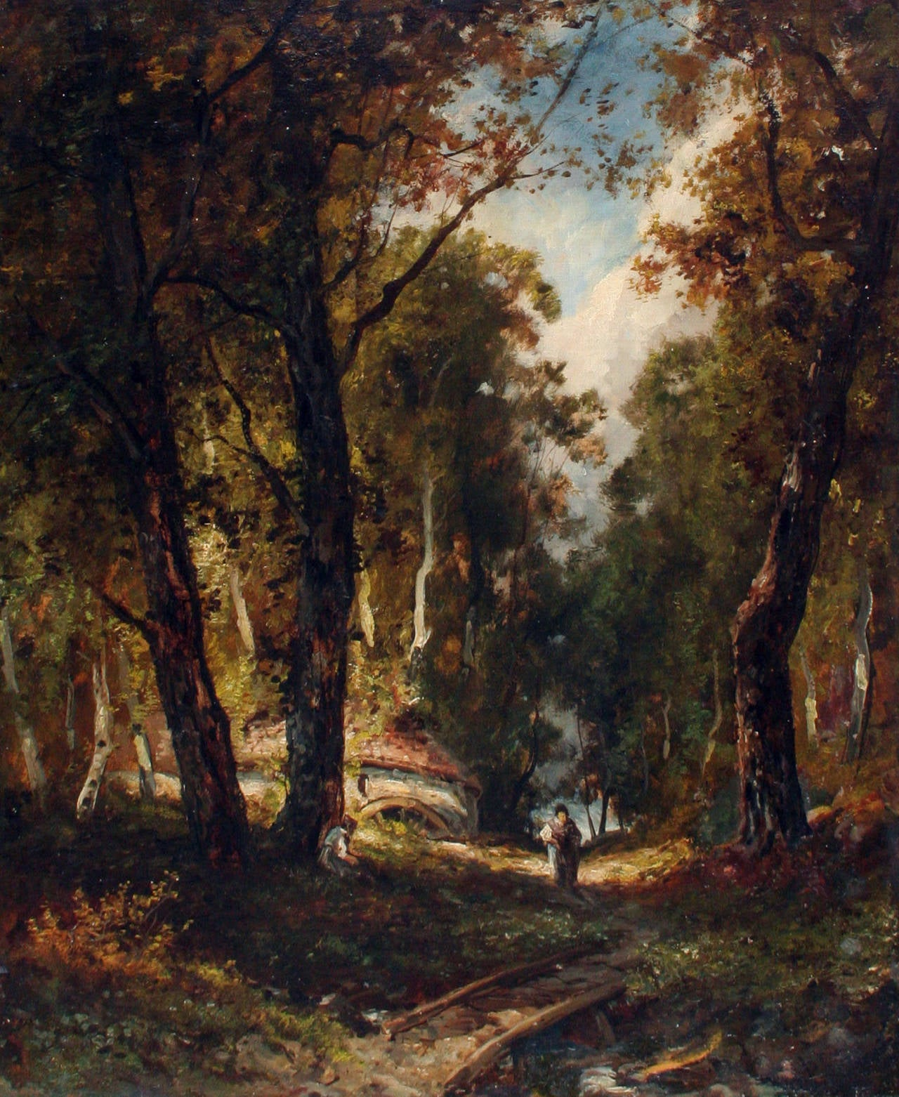 Barbizon Foret de Chantilly: after Narcissus Diaz de la Pena   - Painting by Unknown