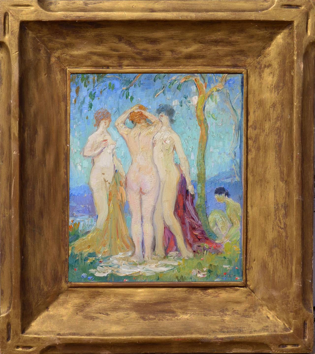 Abel Warshawsky Figurative Painting - Nudes in the Garden, France C. 1929