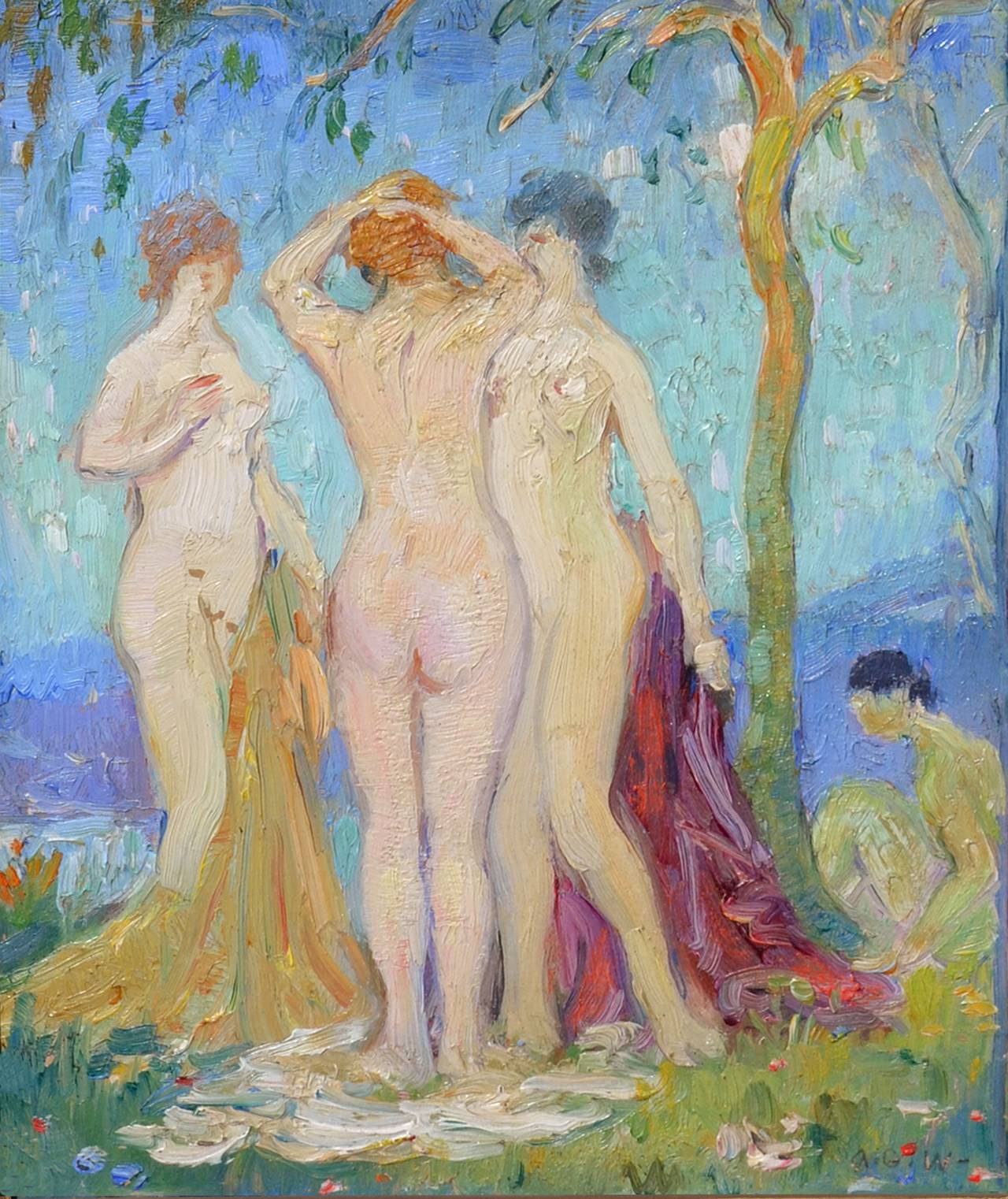 Nudes in the Garden, France C. 1929 - Painting by Abel Warshawsky