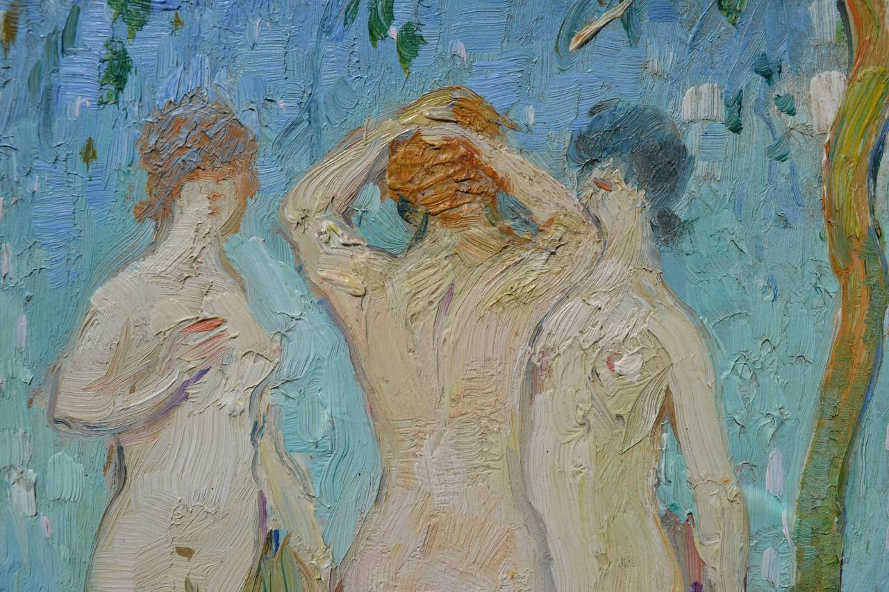 Nudes in the Garden, France C. 1929 - Art Nouveau Painting by Abel Warshawsky