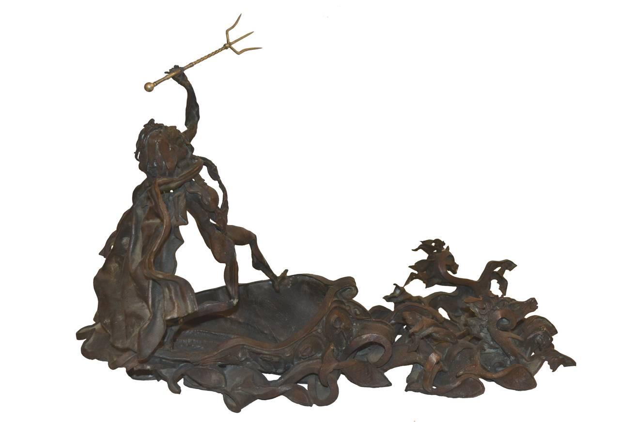 Mid Century Bronze Sculpture -- Poseidon's Fury  - Gold Figurative Sculpture by Daniel Albert Harris