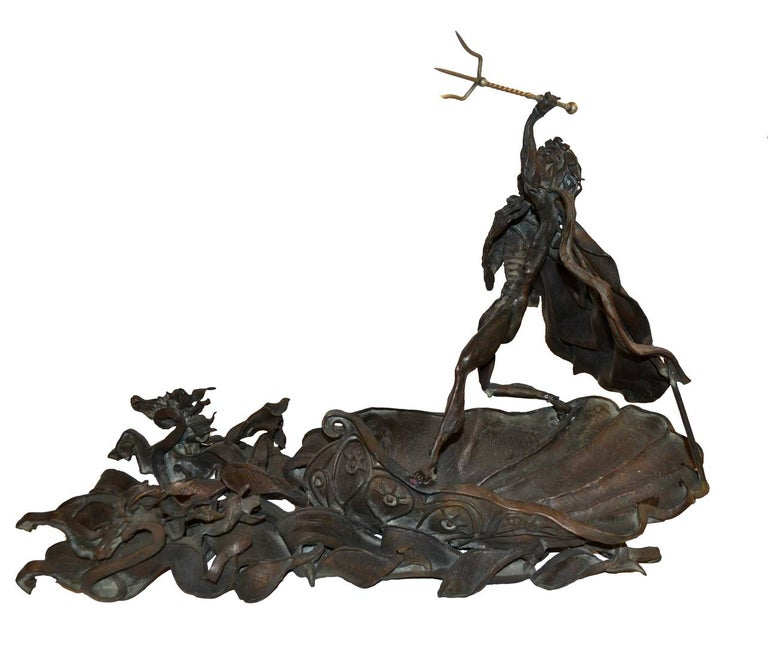 Daniel Albert Harris Figurative Sculpture - Mid Century Bronze Sculpture -- Poseidon's Fury