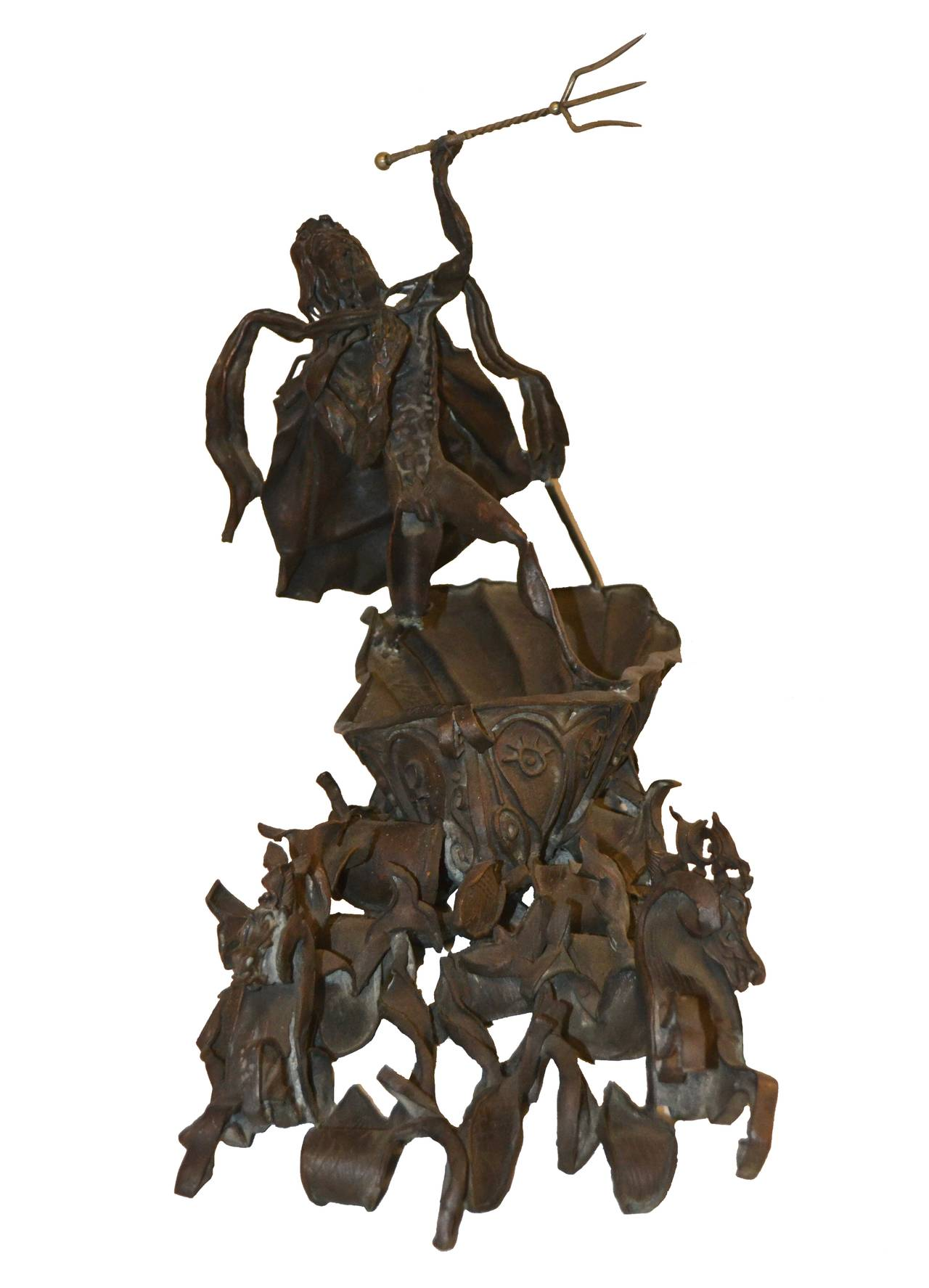 A rare sculpture by Daniel Albert Harris (aka: Zev- the Wolf) (1914-1986) c. 1968 A substantial and stunning bronze sculpture of Poseidon (or Neptune) riding on a shell driven by horses in the wave. This bronze piece has a brutalist Picasso-esque