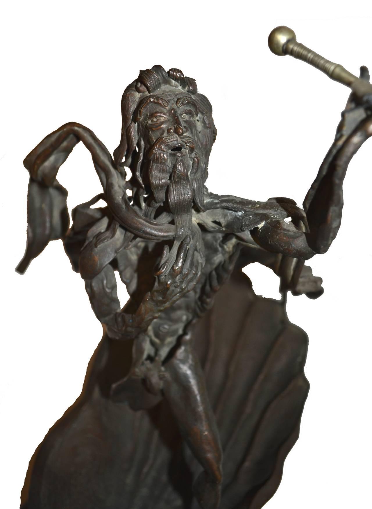 Mid Century Bronze Sculpture -- Poseidon's Fury  For Sale 1