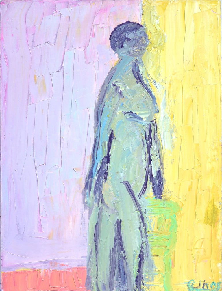 Arthur Krakower Figurative Painting - Waiting For Her Lover Bay Area Figurative Movement