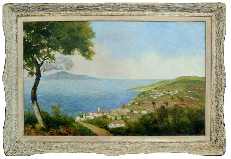 """Gorgeous large scale impressionist painting of the Sorrento coastline with Mount Vesuvias in the background  by Ecaneta. Signed """"Ecaneta"""" or """"E. Caneta"""" lower left, circa 1950. Presented in a period, white washed, gesso frame. Image Size, 26""""H x"""