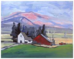 Pink Hilltops and Red Barn