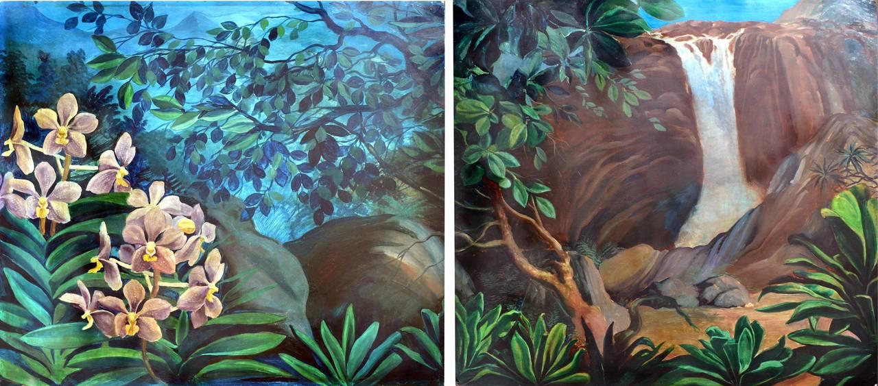 Secret Dark Garden Diptych In Style of Paul Gauguin