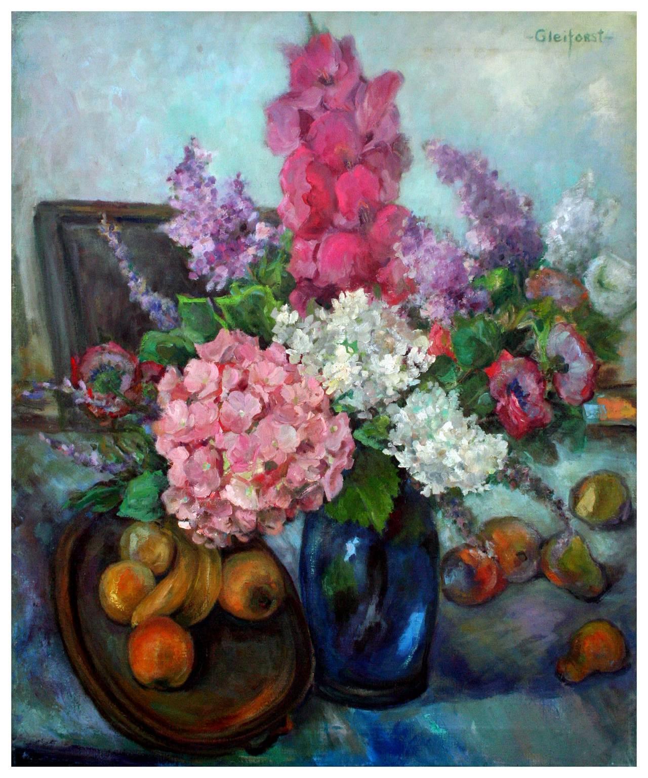 Mid Century Bouquet & Fruit Still Life