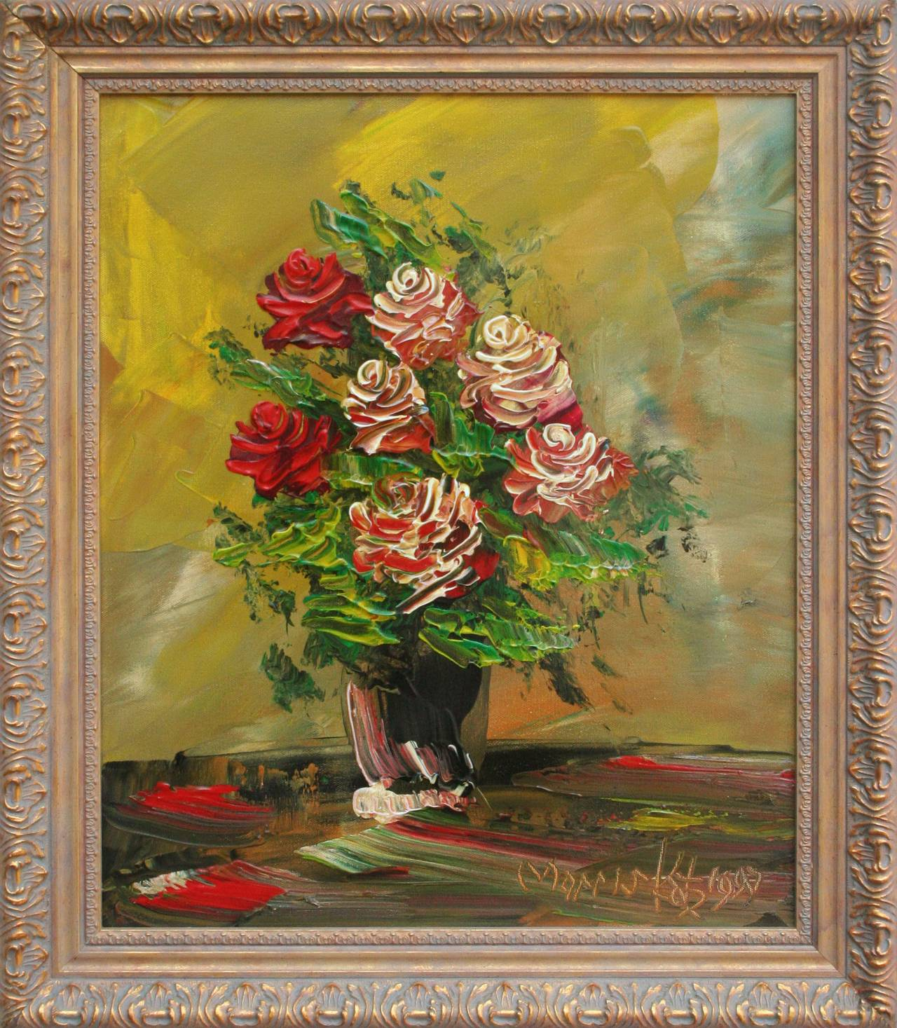 Morris katz red roses still life painting for sale at for Katz fine art