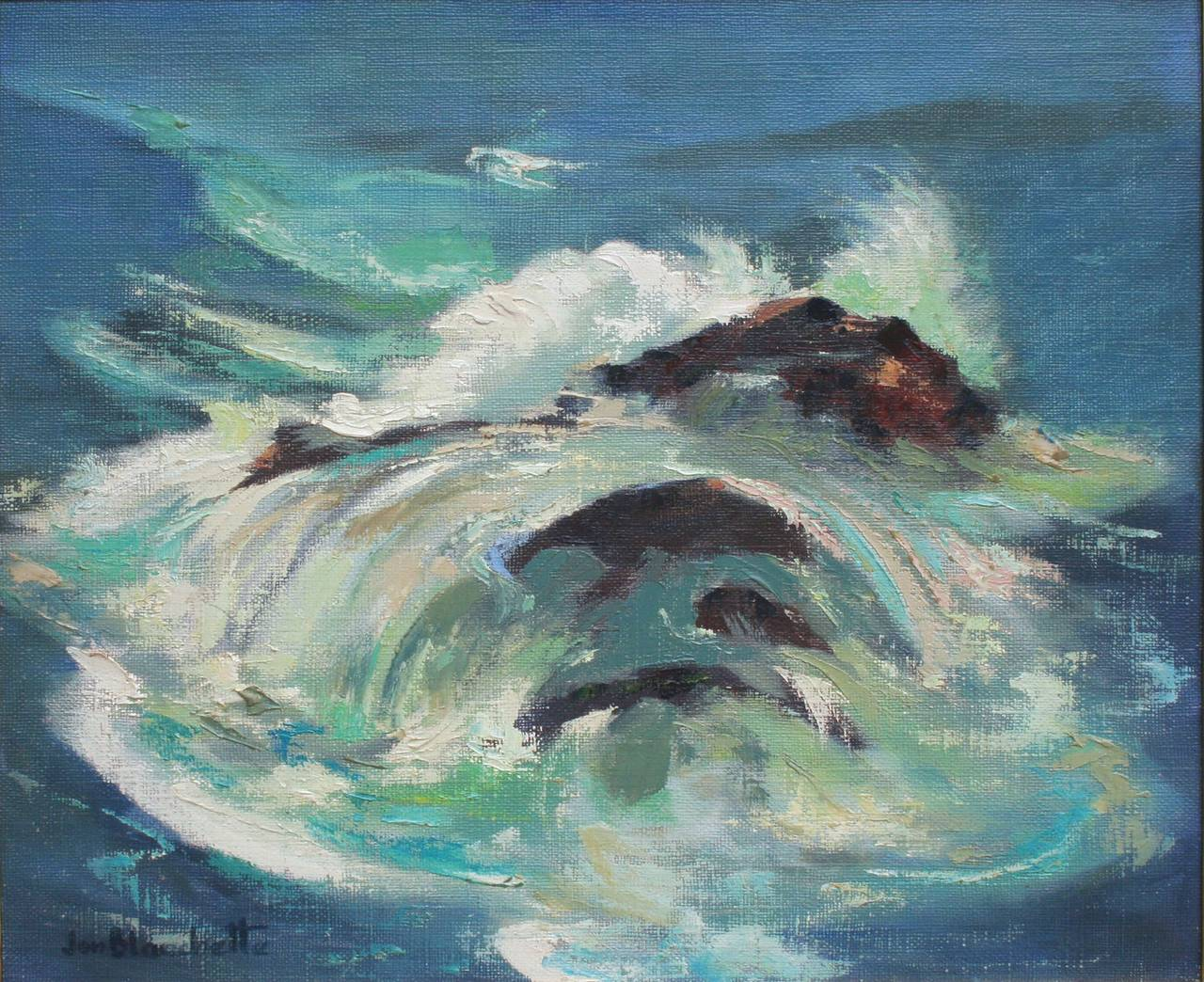 Ocean Wave Abstracted Seascape - Painting by Jon Blanchette