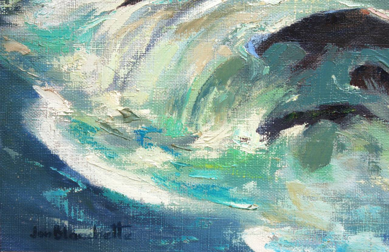 Ocean Wave Abstracted Seascape - American Impressionist Painting by Jon Blanchette