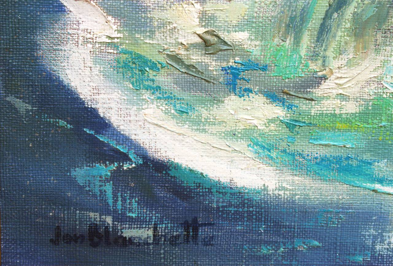 Ocean Wave Abstracted Seascape - Brown Landscape Painting by Jon Blanchette