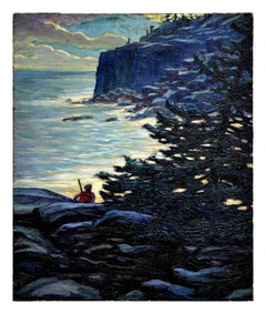 Early 20th Century Coast of Maine Nocturnal Landscape