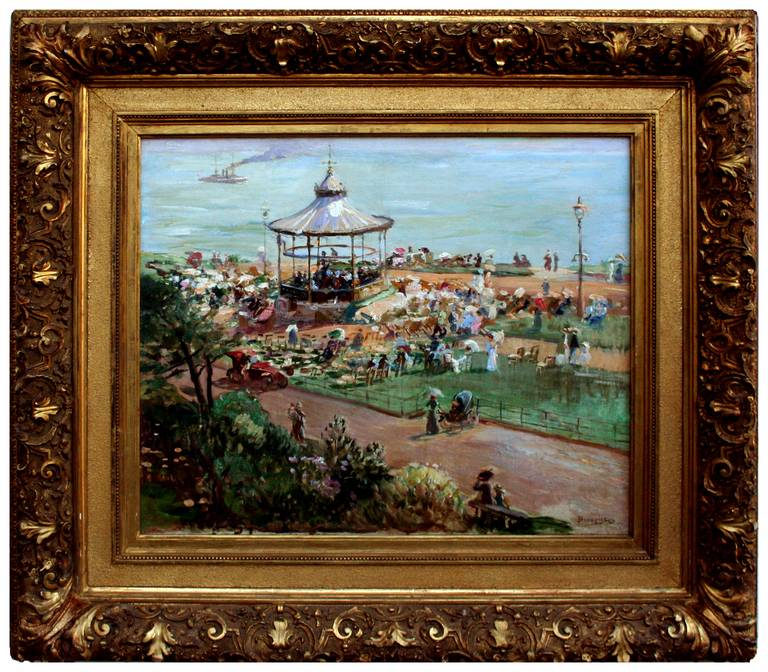 Adolph Brougier Figurative Painting - Folkstone Bandstand, England 1910 Queen Victoria 100th Anniversary Exhibition