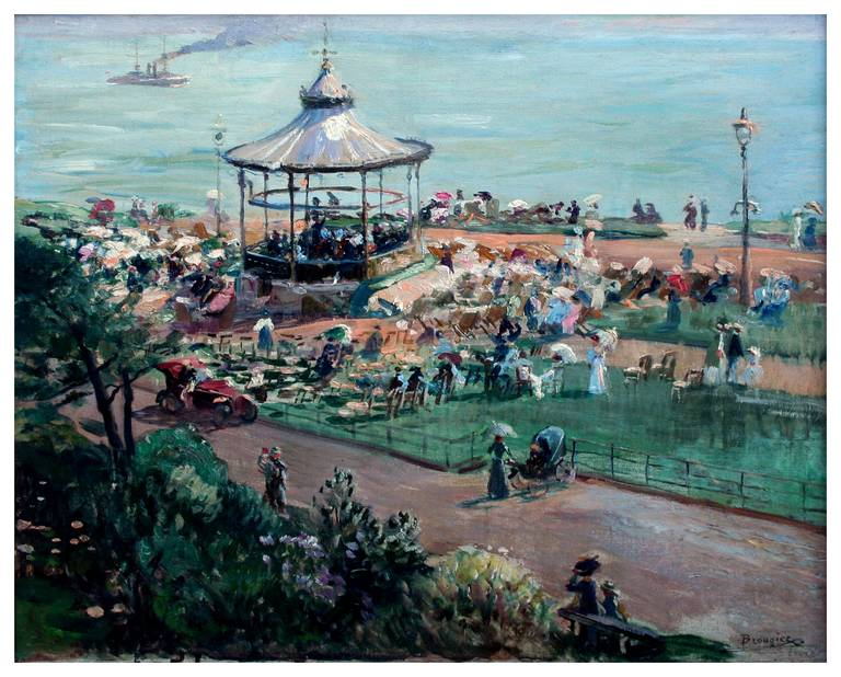 Folkstone Bandstand, England 1910 Queen Victoria 100th Anniversary Exhibition - Painting by Adolph Brougier