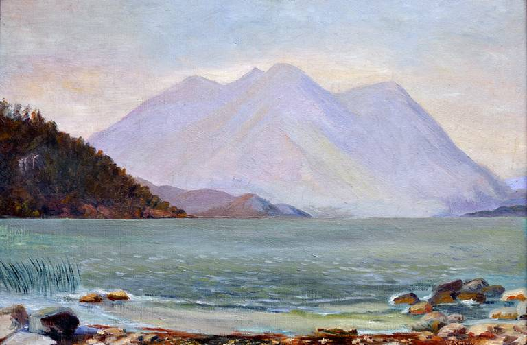 Clear Lake, California, 1920 - Painting by Maragret Rogers