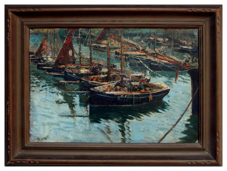 Adolph Brougier Figurative Painting - Early 20th Century Cornish Harbor Fishing Boats