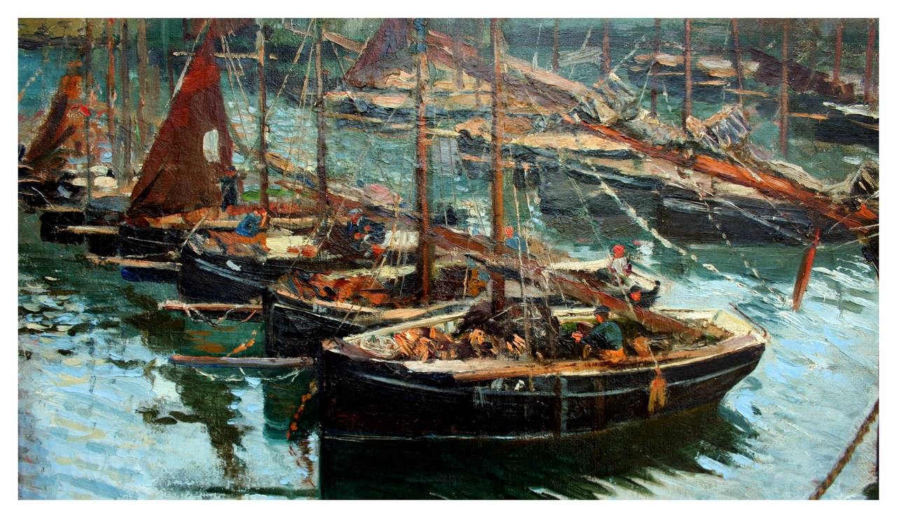 Early 20th Century Cornish Harbor Fishing Boats - Painting by Adolph Brougier