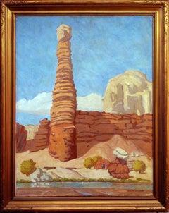 Navajo Hogan and Rug Loom Desert Landscape